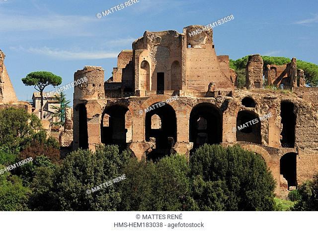 Italy, Lazio, Rome, Palatino, ruins of Septimius Severus Palatine Hill