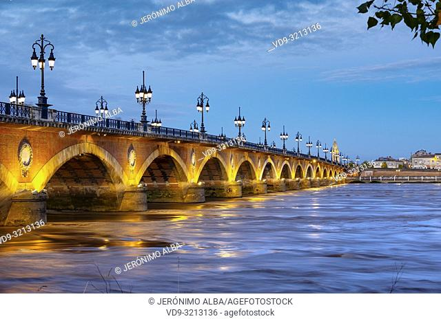 Pont de Pierre at dusk. Stone Bridge & Garonne River. Bordeaux, Gironde. Aquitaine region. France Europe