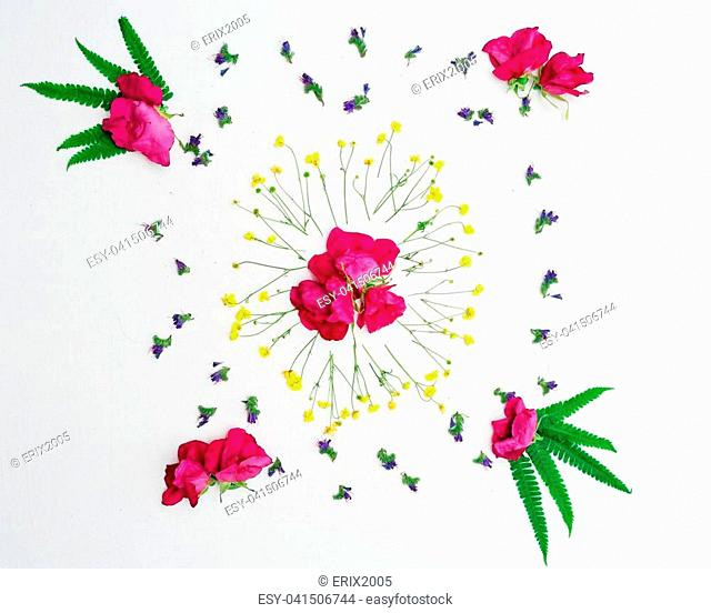 Wreath of ranunculus, pink rose, leaves of green fern and purple field flowers on white background. Flat lay