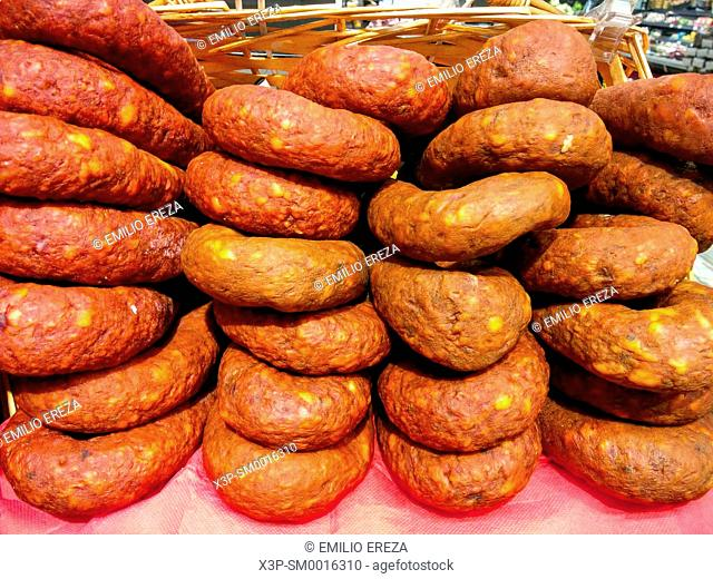 Chorizos for sale. Spanish market