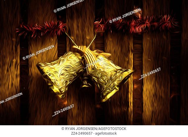 Digital painting of gold jingle bells hanging from a wooden fence ringing the sounds of Christmas joy