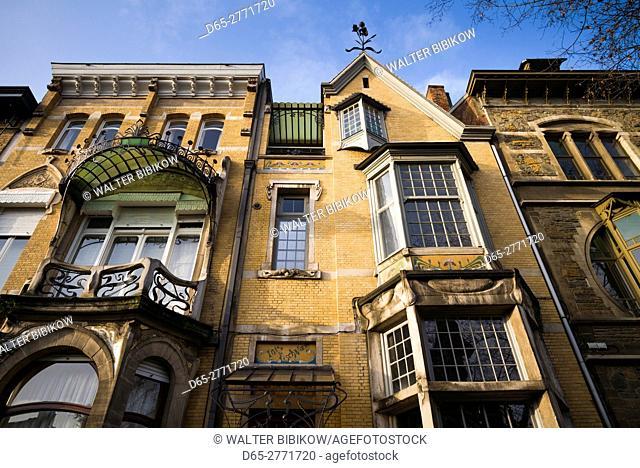 Belgium, Antwerp, Zurenborg, art-nouveau architecture, detail