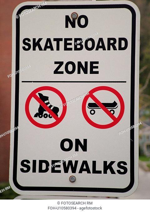 road sign, No Skateboard Zone on Sidewalks, regulatory signs