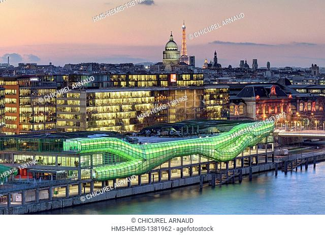 France, Paris, quai d'Austerlitz, City of Fashion and Design, industrial buildings of the General Warehouses renovated by architects Dominique Jacob and Brendan...