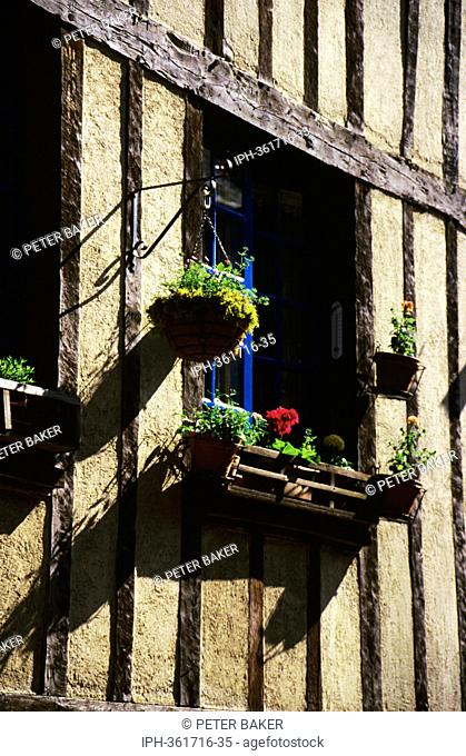Window box on a quaint timber framed houses in the Old Town of Dinan