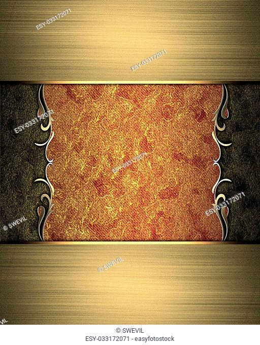 Design template - Abstract red-gold texture with gold ornament edges