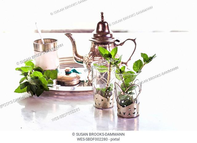 Tray with ingredients for traditional North African mint tea