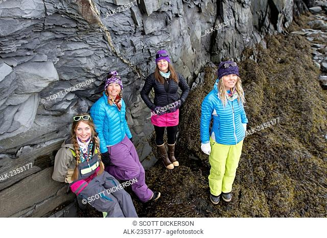 Lauren Georgelos, Lynsey Dyer, Sierra Quitiquit And Lizet Christiansen Hanging Out On The Beach In Whittier While On A Break During Backcountry Ski Trip By...