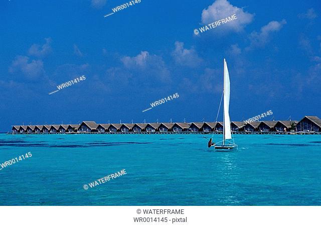 Catamaran in Lagune, Indian Ocean, Maldives Island