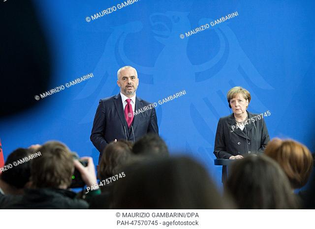 Albanian Prime Minister Edi Rama and German Chancellor Angela Merkel hold a joint press conferenceat the Federal Chancellery in Berlin, Germany, 01 April 2014