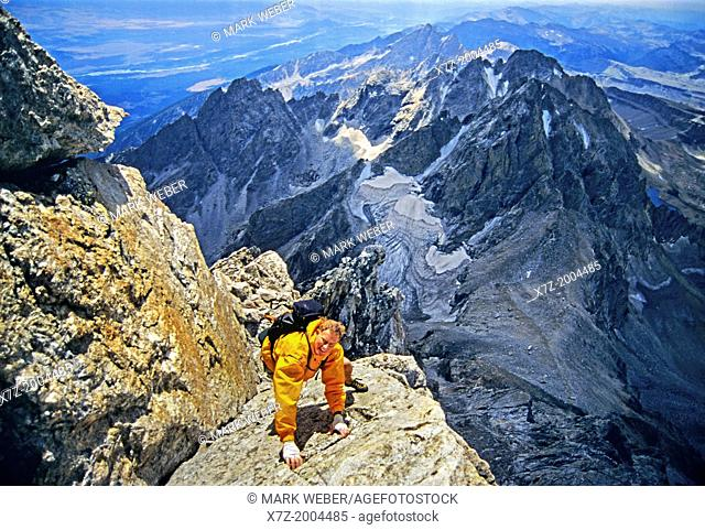 Rock climbing free solo the V-Pitch on the Upper Exum Ridge which is rated 5,4 and located on The Grand Teton at Grand Teton National Park in Wyoming