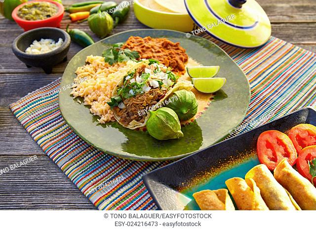 Mexican carnitas tacos with salsa and Mexico food ingredients