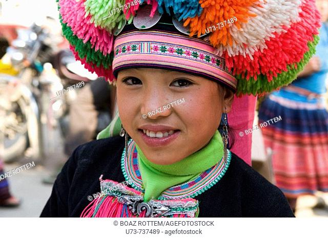 Portrait of a colorful and beautiful Yao girl
