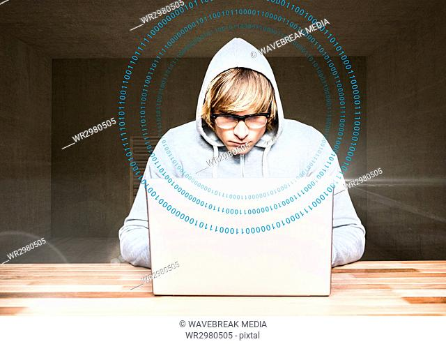 Blond hair hacker using a laptop in a room