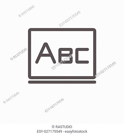 Big letters ABC on the blackboard icon thin line for web and mobile, modern minimalistic flat design. Vector dark grey icon on light grey background