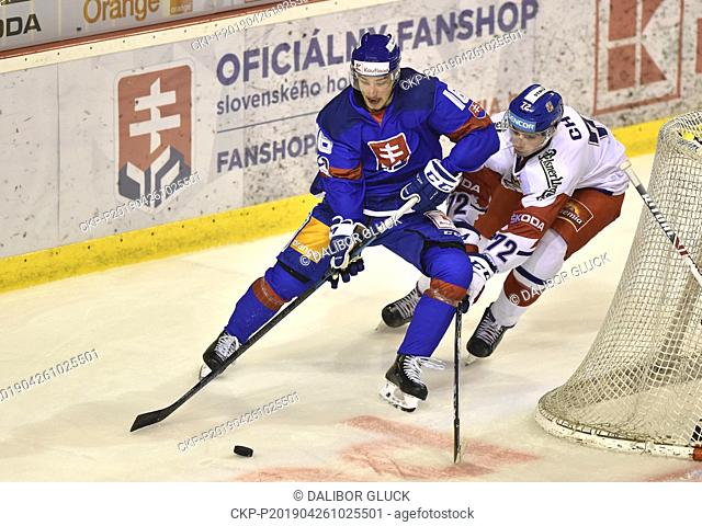 Robert Lantosi of Slovakia, left, and Filip Chytil of Czech Republic in action during the Euro Hockey Challenge match Slovakia vs Czech Republic in Trencin