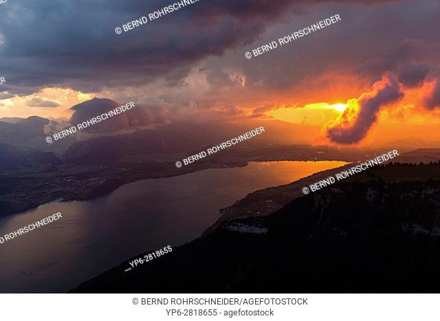 Lake Thun at sunset, Niederhorn, Bernese Oberland, Switzerland