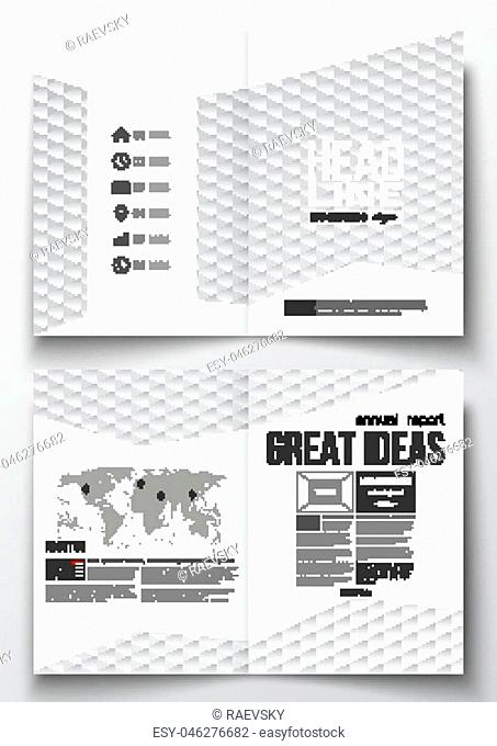 Set of business templates for brochure, magazine, flyer, booklet or annual report. Abstract colorful polygonal background