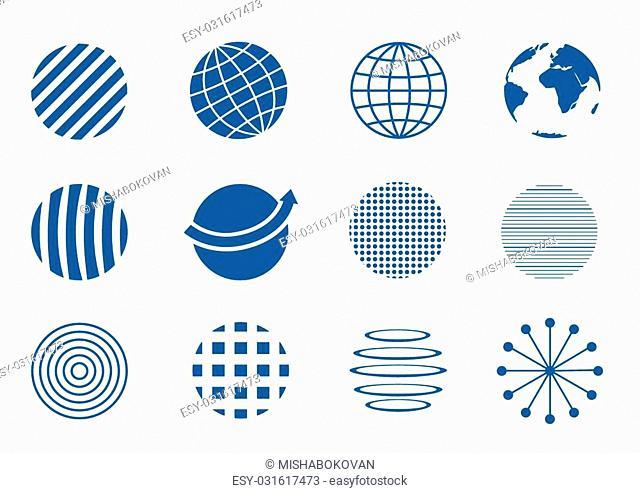 Blue Globe icon set, earth symbols. Communication concept