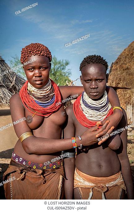 Young women of the Karo Tribe, Omo Valley, Ethiopia