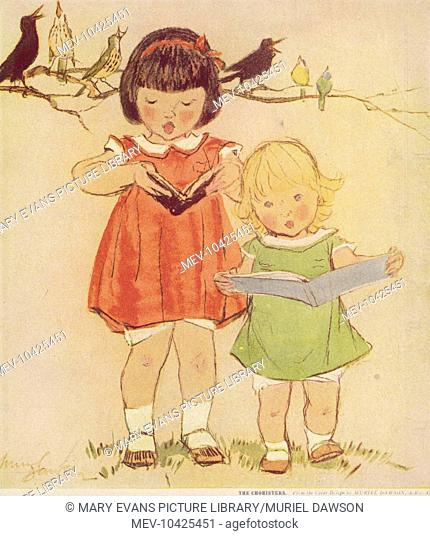 Two sweet little girls stand together and sing from song books, accompanied by chirping birds on a tree branch behind them