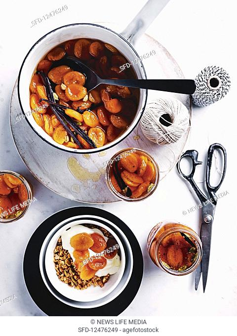 Apricots in cardamom syrup
