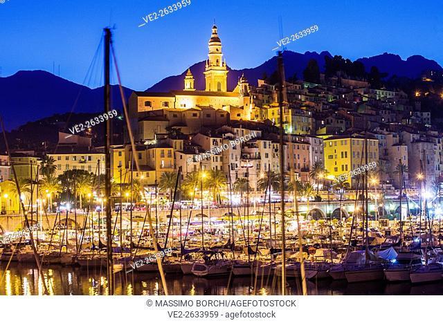 France, Provence-Alpes-Còte-d'Azur, Menton . The port and the Old Town with the Basilique (church) de Saint Michel Archange