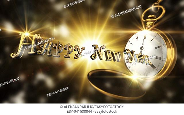 Happy New Year Sign With Vintage Pocket Watch Striking Midnight With Light And Flares in Background 3D Rendering