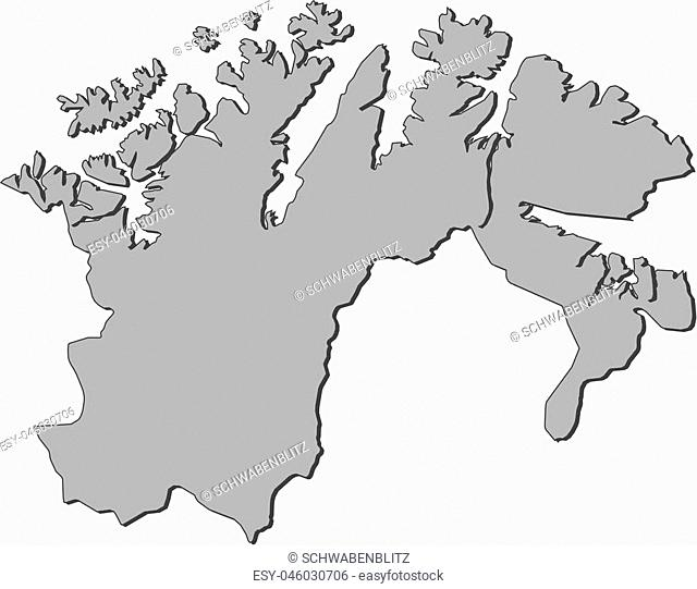 Map of Finnmark, a province of Norway