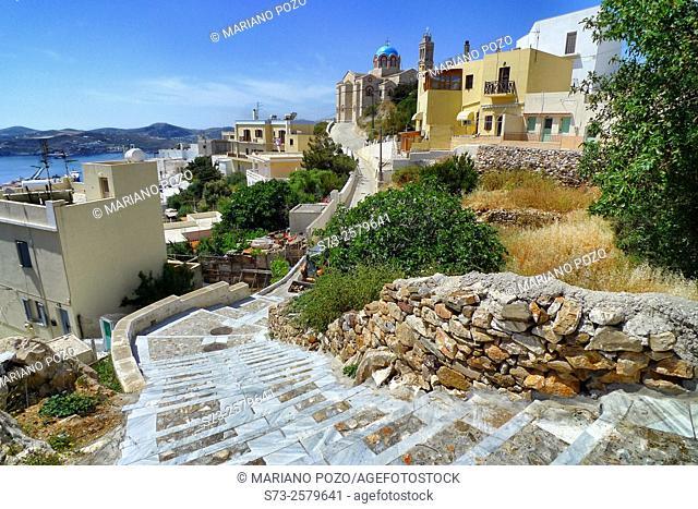 Narrow streets in Syros, Cyclades Islands, Greek