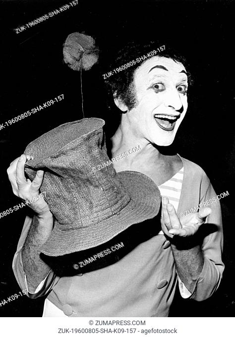 Aug. 5, 1960 - Paris, France - MARCEL MARCEAU (22 March 1923 - 22 September 2007) was a French mime artist and actor. In 1947, Marceau created 'Bip' the clown