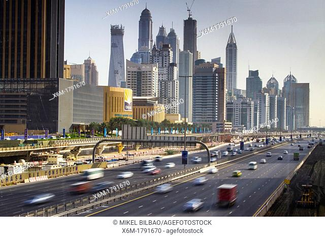 Sheikh Zayed Road and city buildings  Dubai city  Dubai  United Arab Emirates
