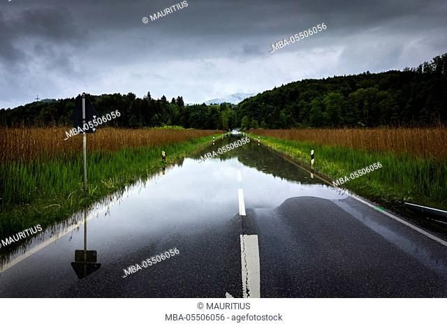 Germany, Bavaria, flooded country road