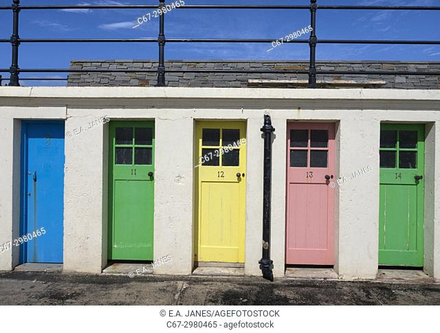 Colourful doors to former outdoor swimming pool changing rooms near the harbour at North Berwick