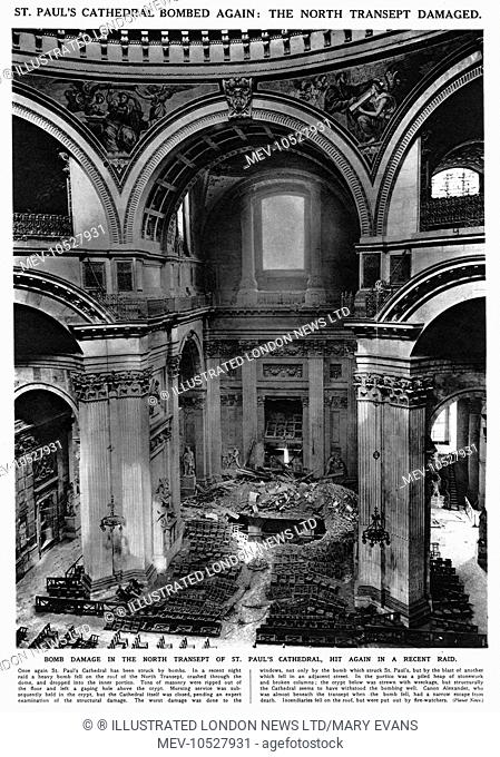 Bomb damage in the North Transept of St Paul's catherdral, London, hit by a heavy bombing raid in April 1941 during the Blitz