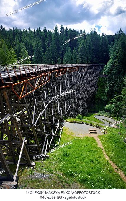 Kinsol Trestle wooden framework bridge over Koksilah river, summertime nature scenery, Shawnigan Lake, Vancouver Island, British Columbia, Canada