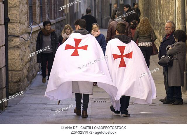 TERUEL ARAGON SPAIN on February 16, 2019: The Wedding of Isabel de Segura commemorates the romance of the Teruel Lovers. Locals participate by recreating the...