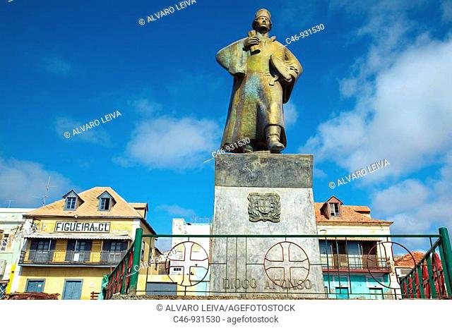 Portuguese sailor Diego Afonso statue. Mindelo. Port town on São Vicente island. Cape Verde