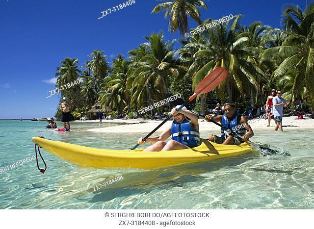 Island of Taha'a, French Polynesia. Tourists doing kayak at the Motu Mahana, Taha'a, Society Islands, French Polynesia, South Pacific