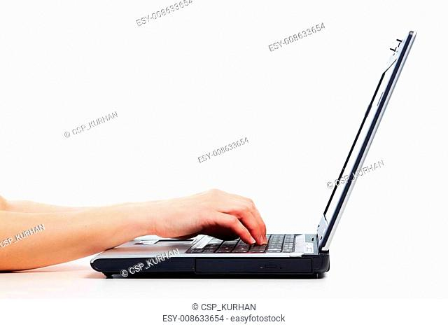 Hands with laptop computer
