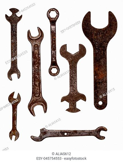 Old rusty wrenches. Intricate shape. Tool kit on white background. Isolate