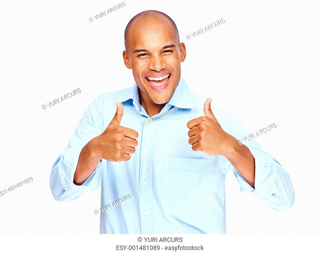 Success in business - Happy business man showing thumbs up with both hands on white