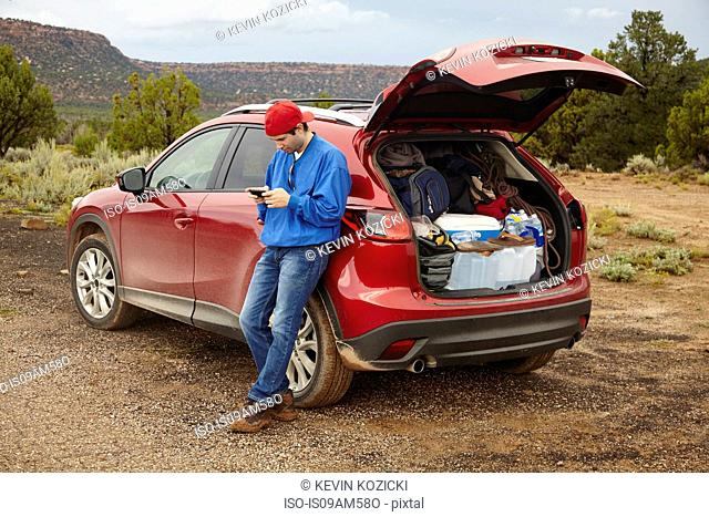 Man using smartphone beside car, Zion, Utah, USA