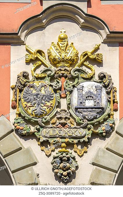 Coat of arms at the Old Theater (Altes Theater) in Ravensburg, Baden-Wuerttemberg, Upper Swabia, Germany