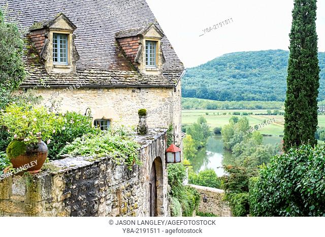 Old French home and view over Dordogne River valley, Beynac-et-Cazenac, Dordogne department, Aquitaine, France