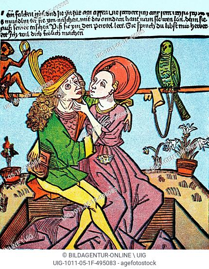 The prostitute and the youth, woodcut from the 15th century