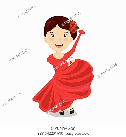 woman cartoon dancer flamenco design vector illustration eps 10