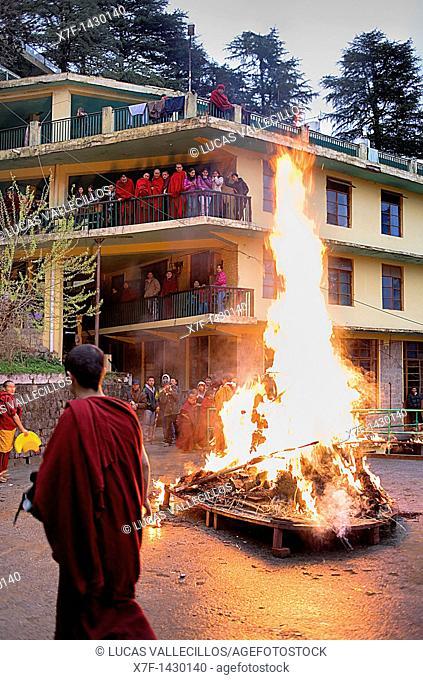 Ritual to burning evil at Losar new year, in Namgyal Monastery,in Tsuglagkhang complex  McLeod Ganj, Dharamsala, Himachal Pradesh state, India, Asia