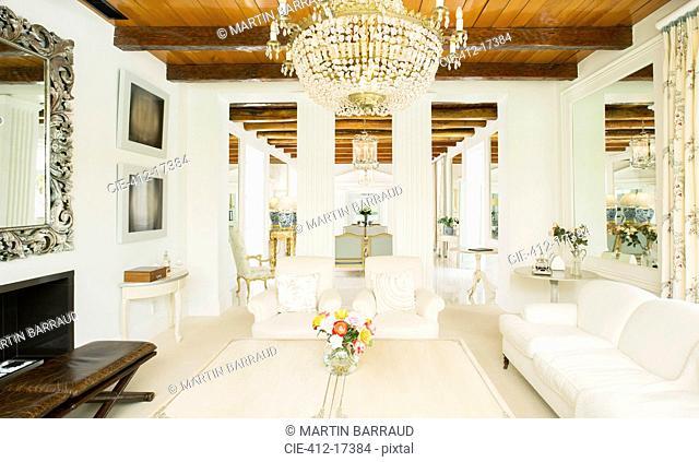 Chandelier in luxury living room