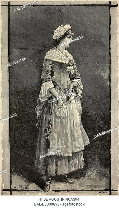 Actress Lillie Langtry in a scene from The stoops to conquer at the Haymarket Theatre, London, United Kingdom, engraving from The Illustrated London News